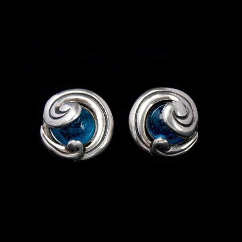 handcrafted silver small elm iris sterling blue glass earrings jewelry diamond beaded